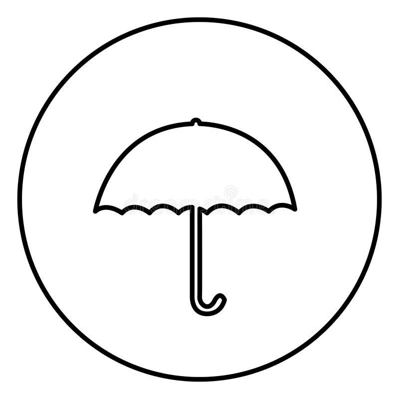 单色与伞象的等高圆框架 库存例证