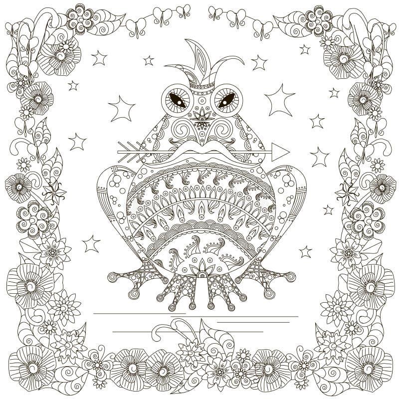 单色与箭头的乱画手拉的青蛙在嘴,冠,担任主角花框架 库存例证