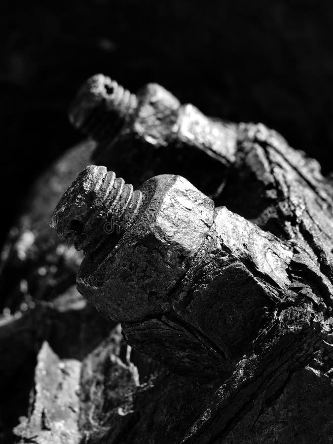 单色关闭生锈的穿线的螺栓和坚果在老被腐蚀的机械 库存照片