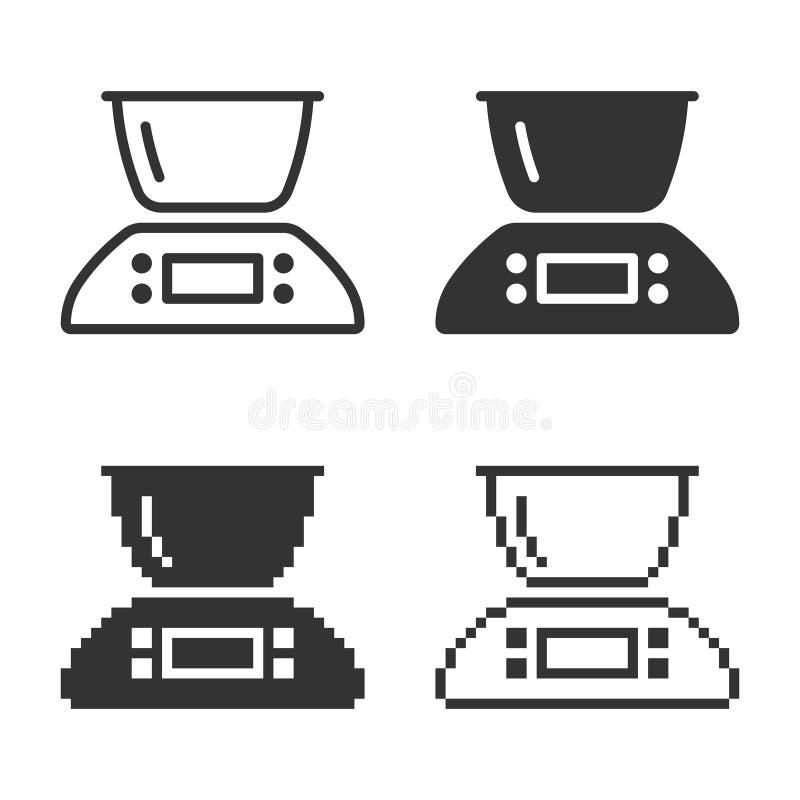 单色厨房称象用不同的变形 皇族释放例证