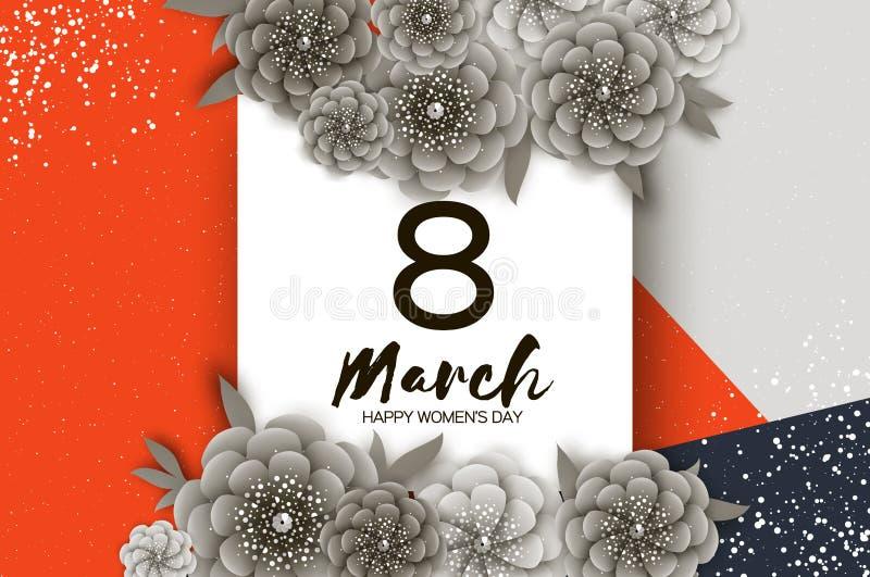 单色愉快的妇女天 3月8日 时髦母亲节 纸被切开的异乎寻常的热带花卉贺卡 origami 向量例证
