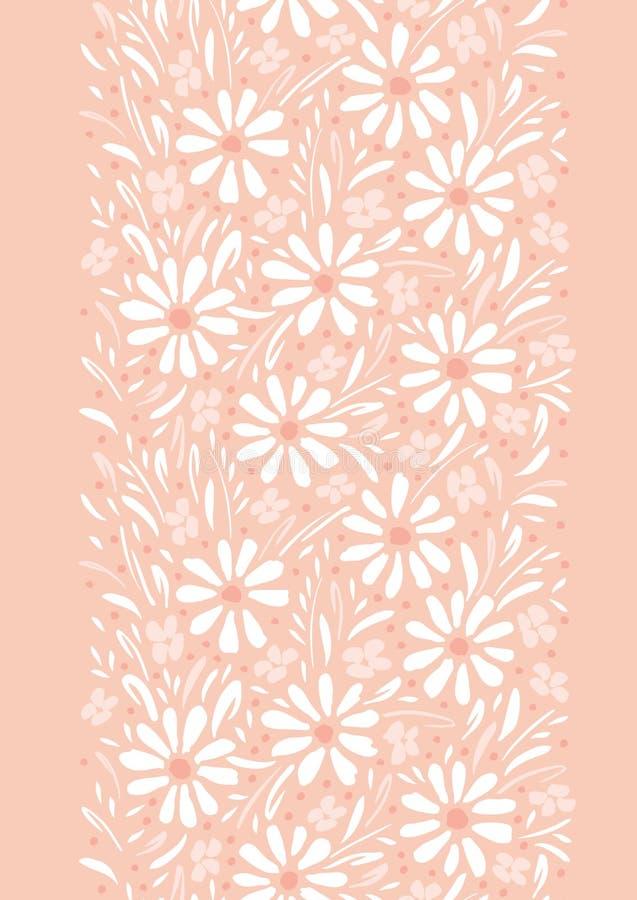 单色手画雏菊和叶子在桃子桃红色背景垂直的传染媒介无缝的边界 花卉边缘 皇族释放例证