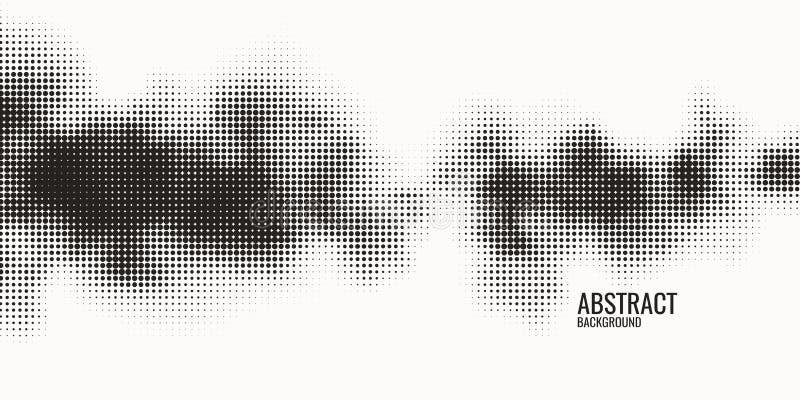 单色打印光栅,抽象传染媒介中间影调背景 小点黑白纹理  库存例证