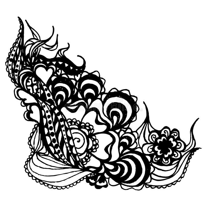 单色抽象乱画curlicue速写了艺术传染媒介 皇族释放例证
