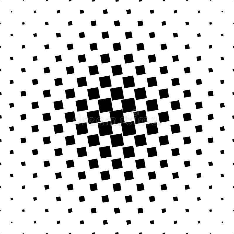 单色抽象方形的样式背景-从有角正方形的黑白几何半音传染媒介设计 皇族释放例证
