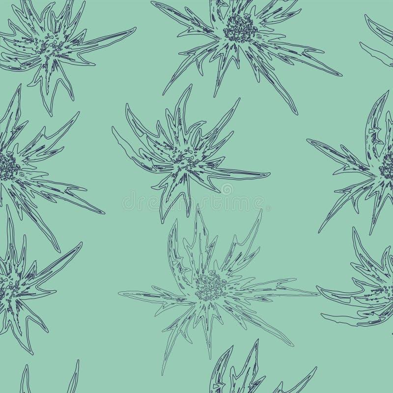 单色无缝开花,花卉样式 皇族释放例证