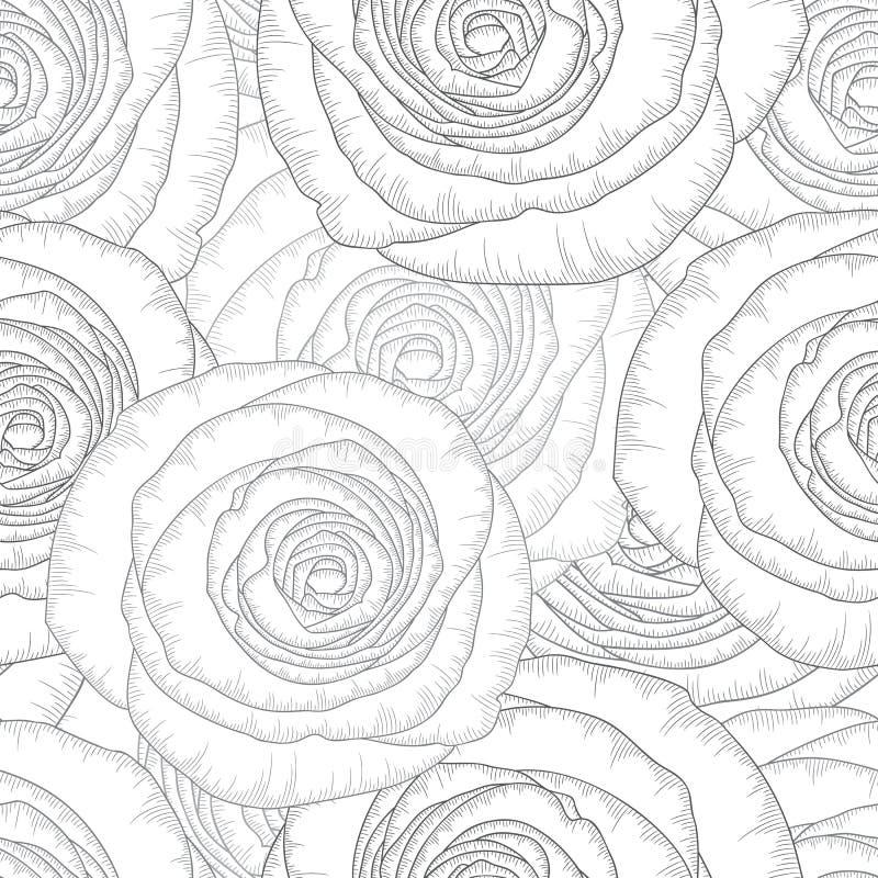 单色无缝的与花玫瑰的手图画花卉背景 库存图片