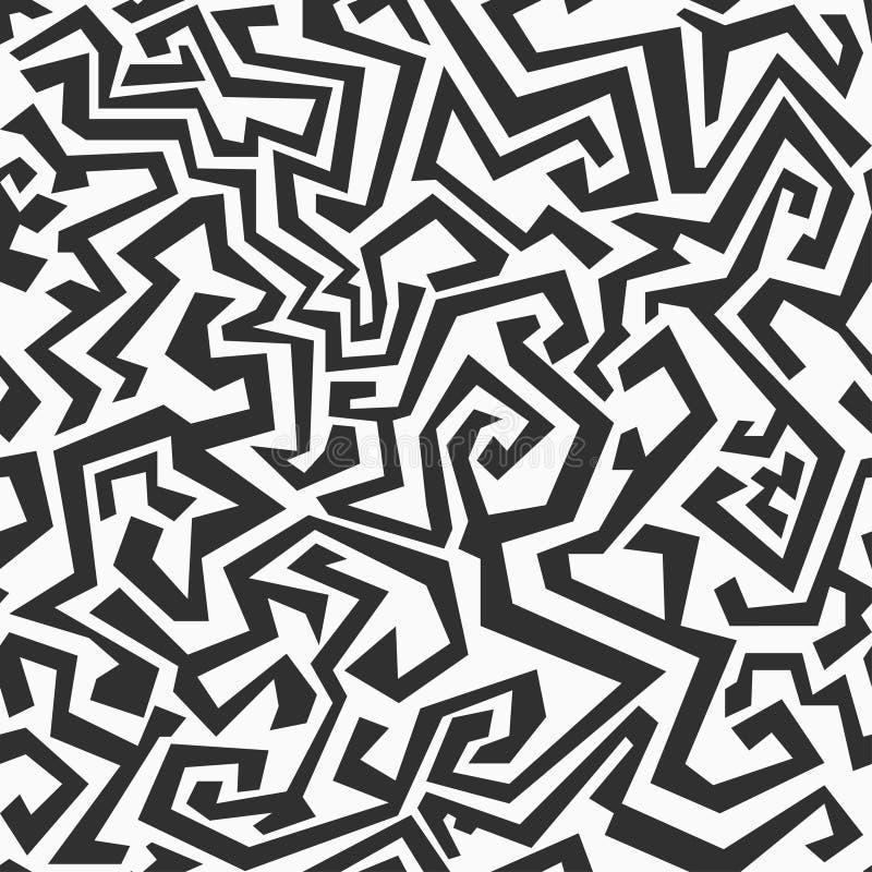 单色无缝的迷宫样式 向量例证