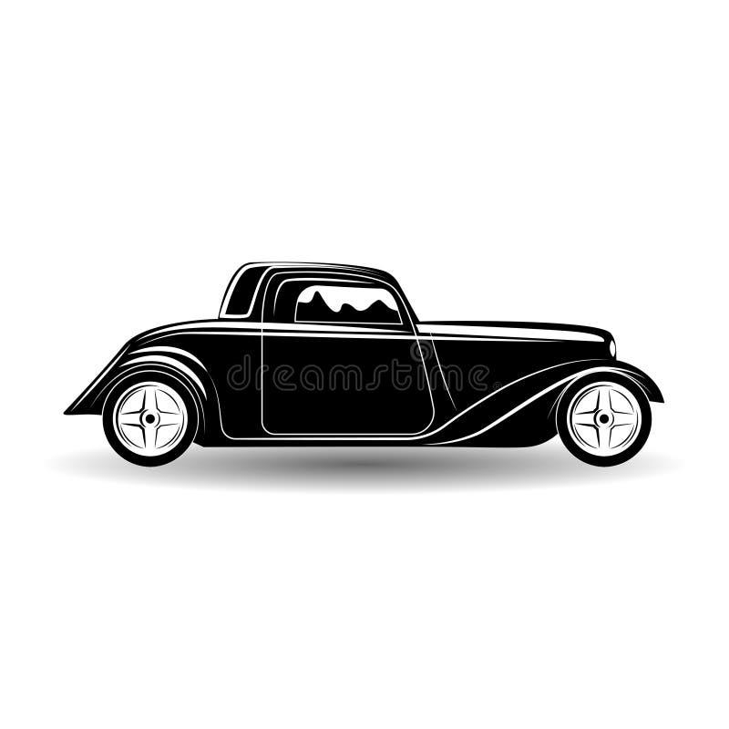 单色旧车改装的高速马力汽车象 库存例证