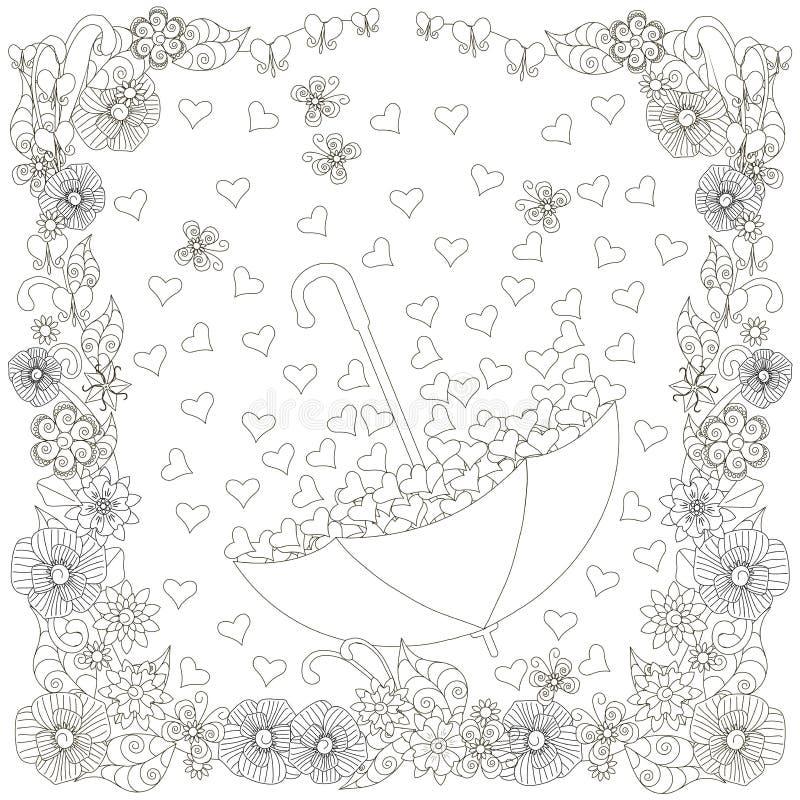 单色有心脏的乱画手拉的伞在花框架 反重音例证 皇族释放例证