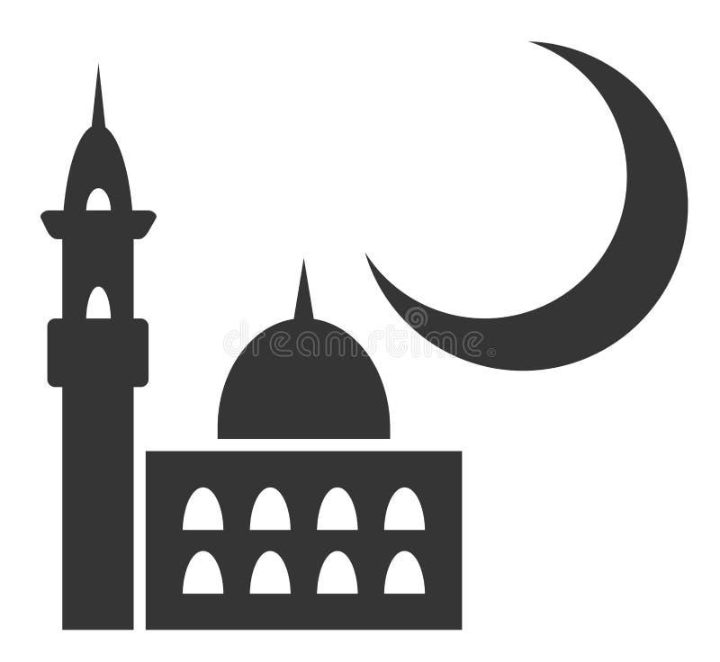 单色清真寺剪影 向量例证