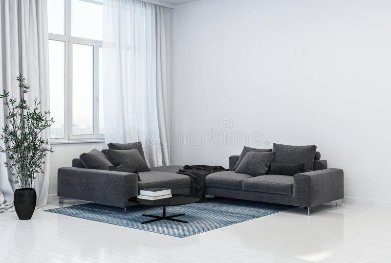 单色灰色和白色客厅内部 皇族释放例证