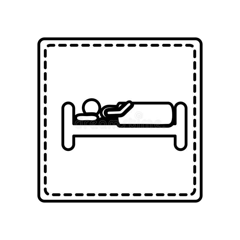 单色等高正方形和虚线与人在床上 向量例证