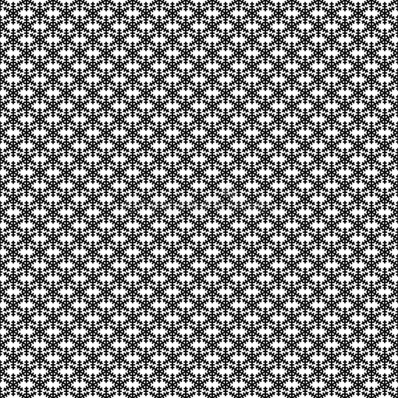 单色简单的风格化雪花样式墙纸-几何传染媒介寒假装饰图表 向量例证