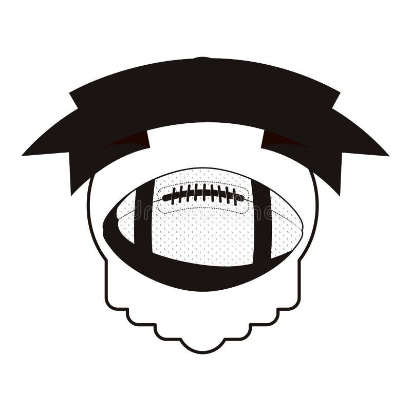 单色纹章学与橄榄球球和丝带 库存例证