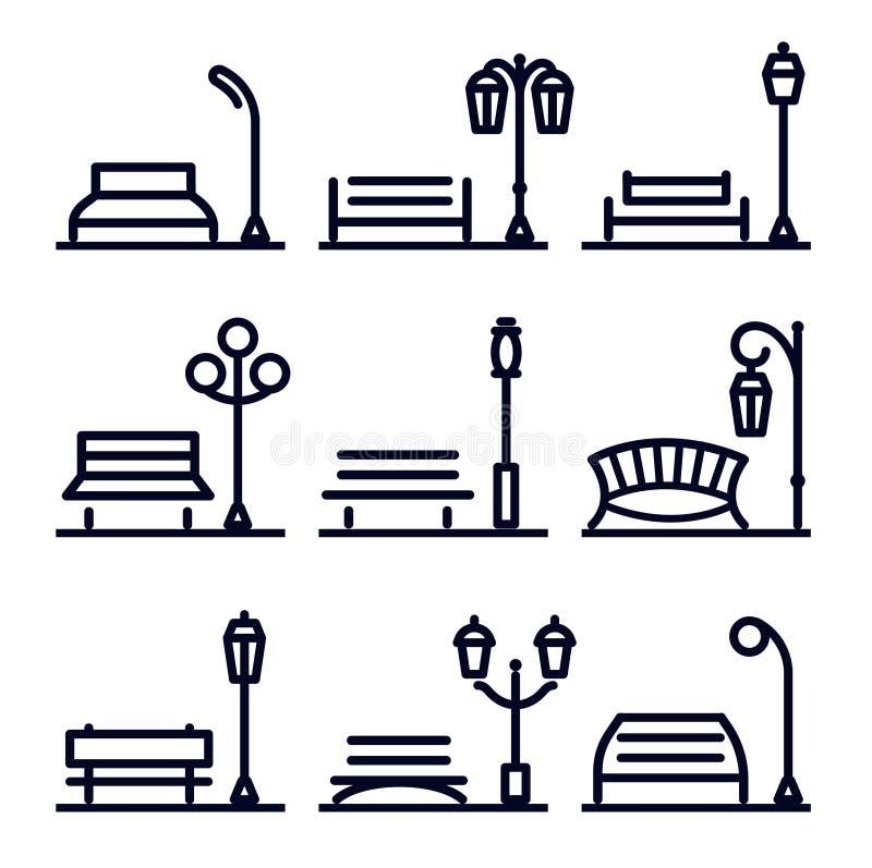 单色线性抽象风景设计元素集,公园街道元素 公园长椅和灯笼,传染媒介 库存例证