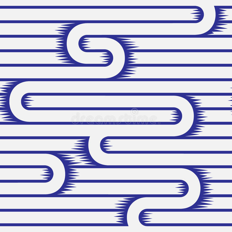 单色线纹理白色和蓝色无缝的样式 向量 库存例证
