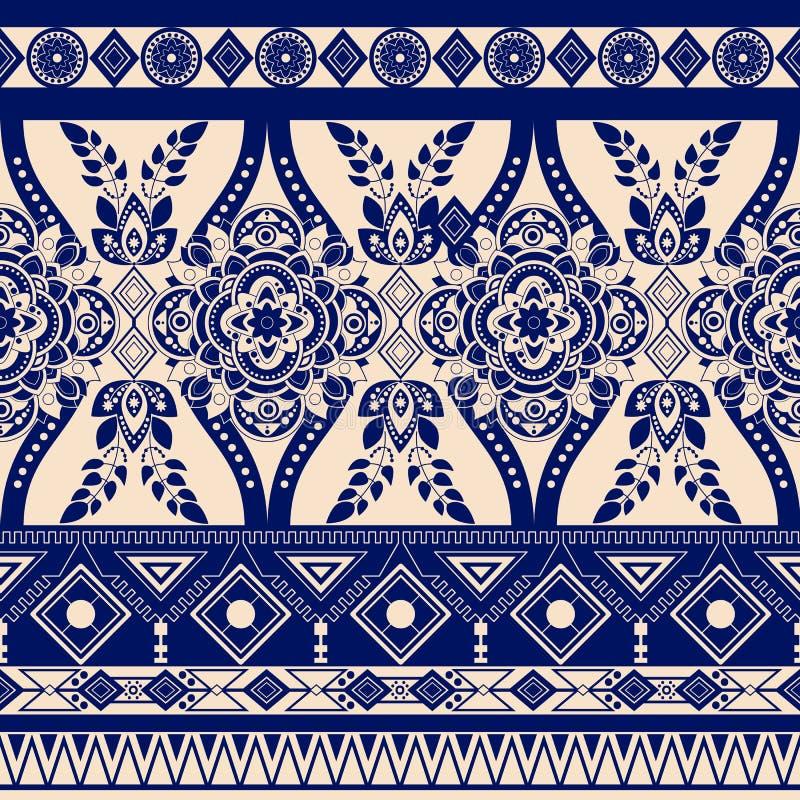 单色花卉无缝的样式,种族装饰品 与装饰元素的边界墙纸 传染媒介clipart 皇族释放例证