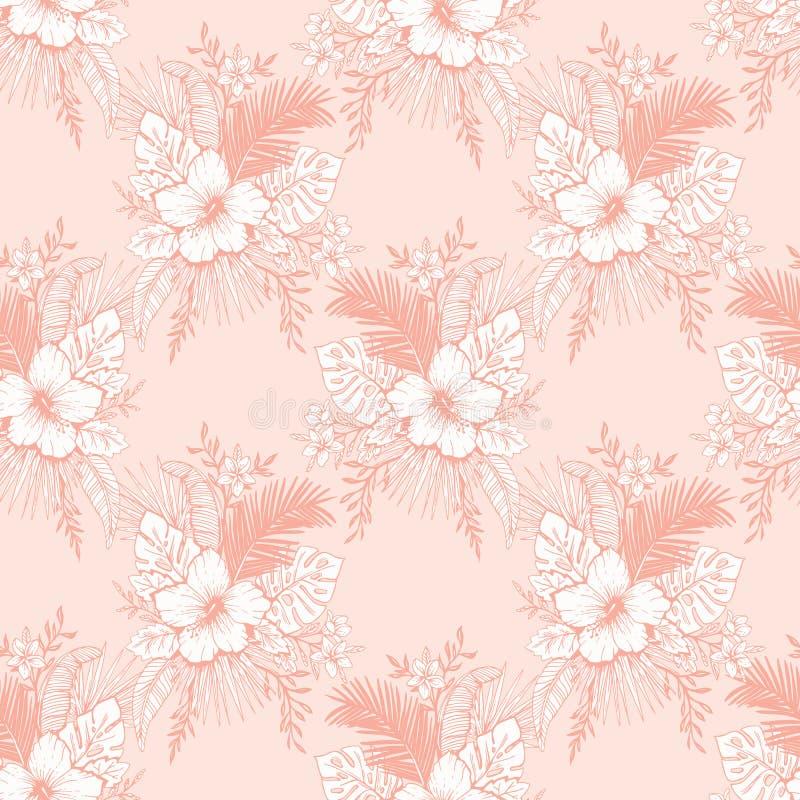 单色葡萄酒珊瑚热带异乎寻常的叶子和木槿花卉传染媒介无缝的样式 线描背景 库存例证