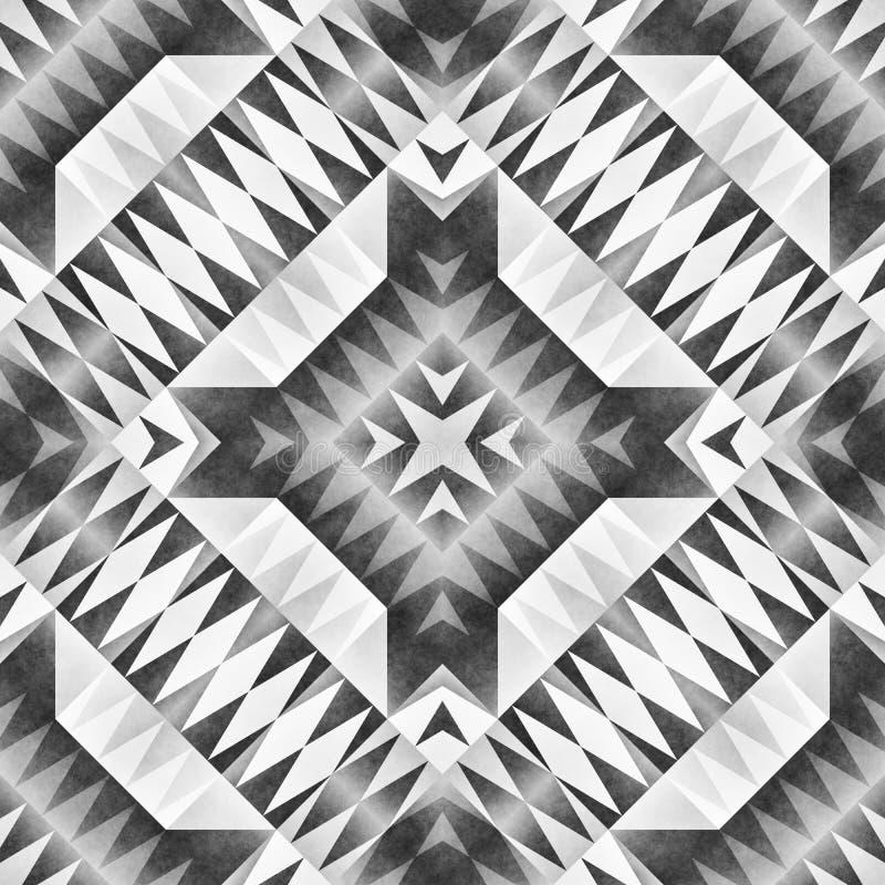 单色部族无缝的样式 阿兹台克样式摘要几何艺术印刷品 向量例证