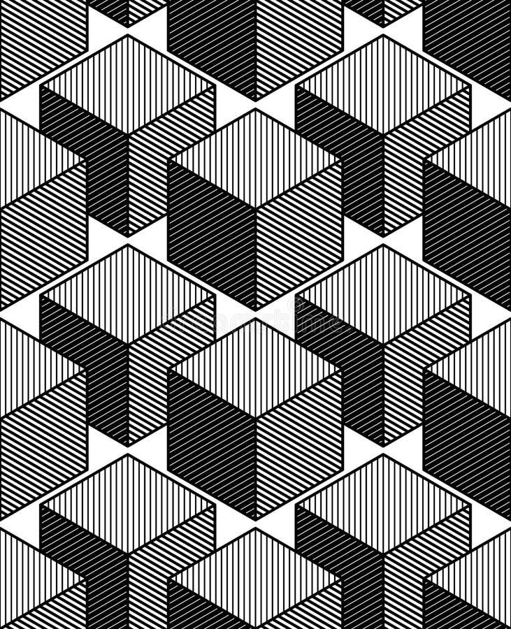 单色幻觉抽象几何无缝的样式, 3d 皇族释放例证