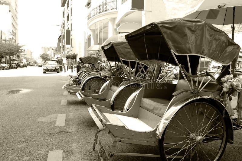 单色trishaws 库存图片