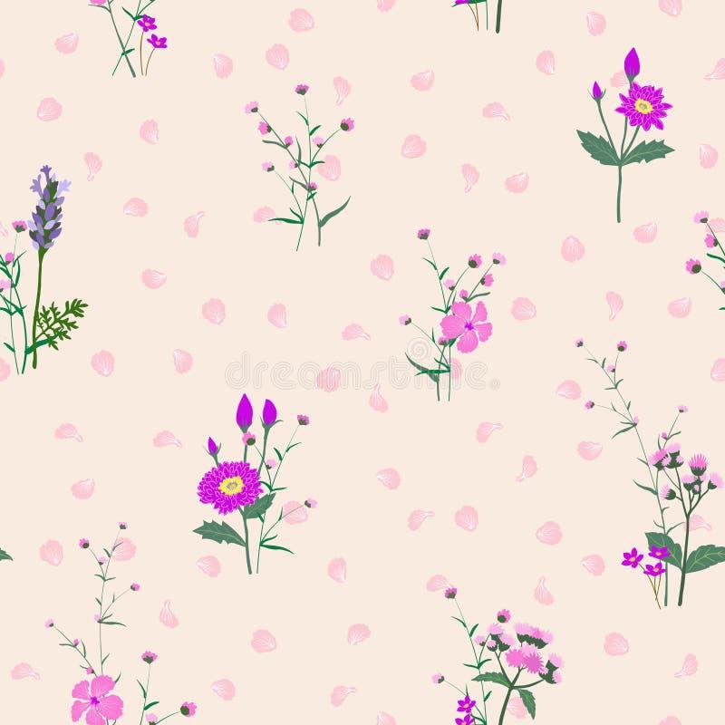 单调在紫色树荫开花的花园装饰,时尚、织品、纺织品、印刷品或者墙纸的无缝的样式 向量例证