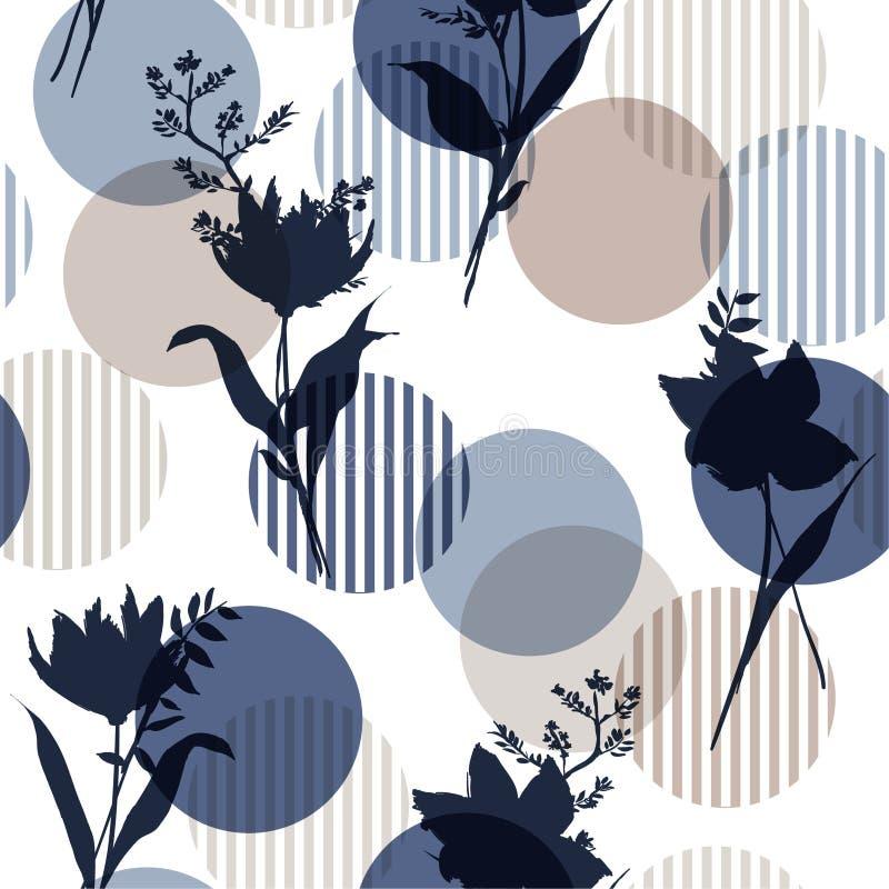 单调在蓝色在现代五颜六色的条纹圆点,精美花的传染媒介植物的剪影花卉无缝的样式 向量例证