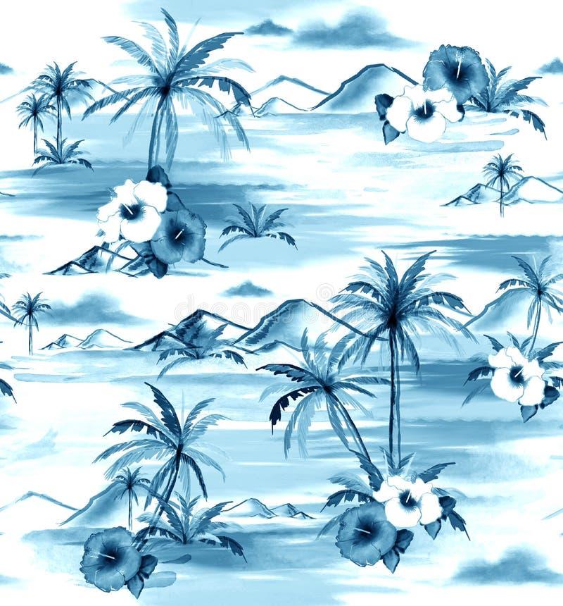 单调在蓝色树荫手图画水彩绘画海岛h上 向量例证