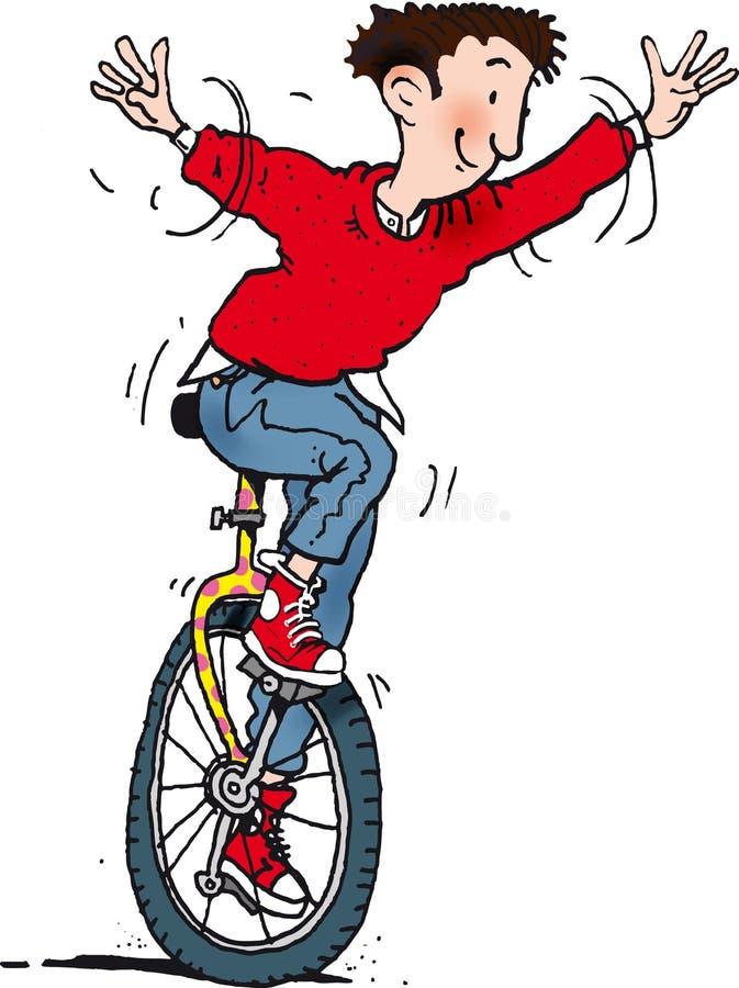 单轮脚踏车人 皇族释放例证