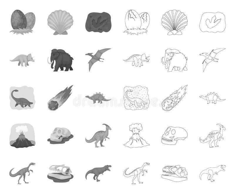 单音不同的恐龙,在集合收藏的概述象的设计 史前动物传染媒介标志股票网 向量例证