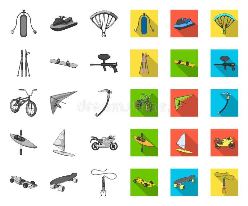 单音的极限运动,在集合收藏的平的象的设计 体育不同形式导航标志股票网 皇族释放例证