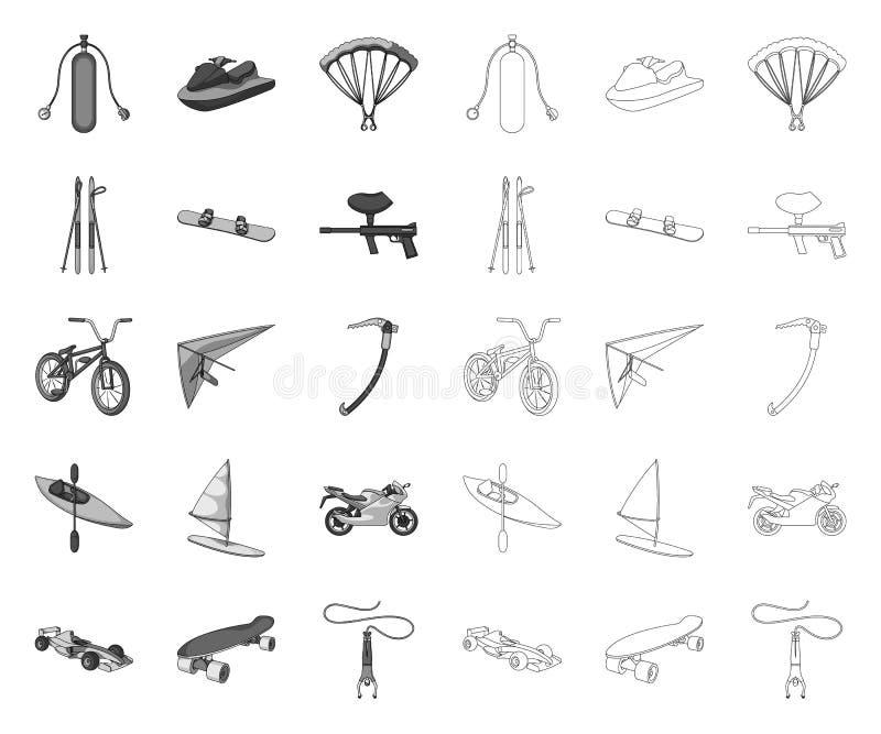 单音的极限运动,在集合收藏的概述象的设计 体育不同形式导航标志股票网 库存例证