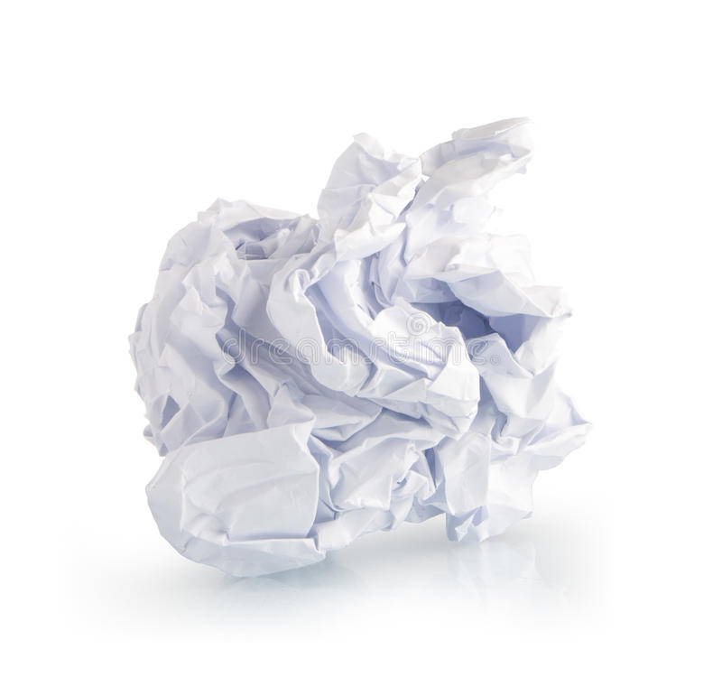 单页在白色的被弄皱的纸 免版税图库摄影