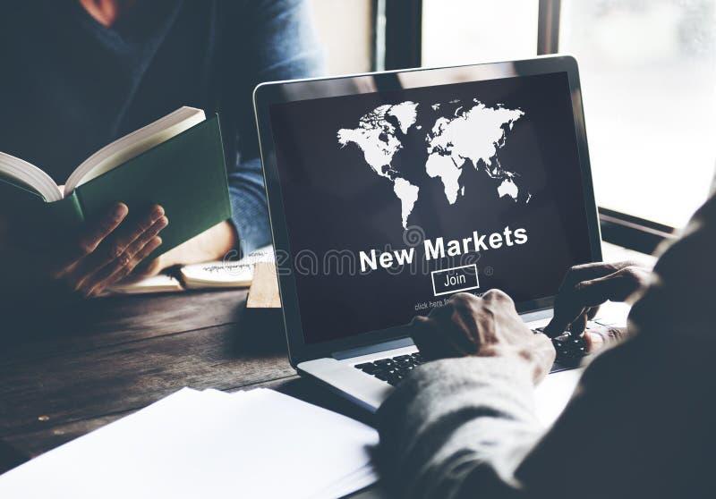 卖全球企业营销概念的新市场商务 免版税库存照片