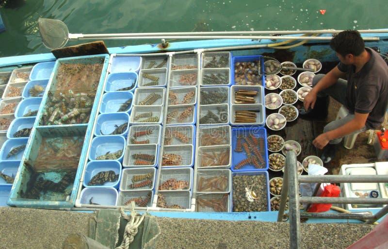 卖在小船的人海鲜 库存图片