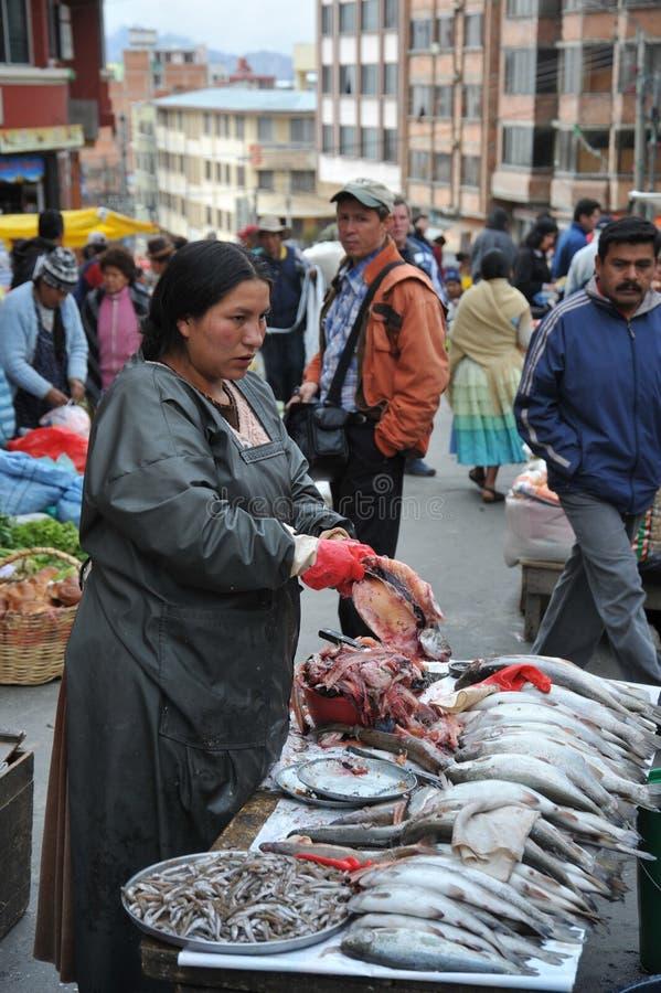 卖在拉巴斯街道上的妇女  库存图片