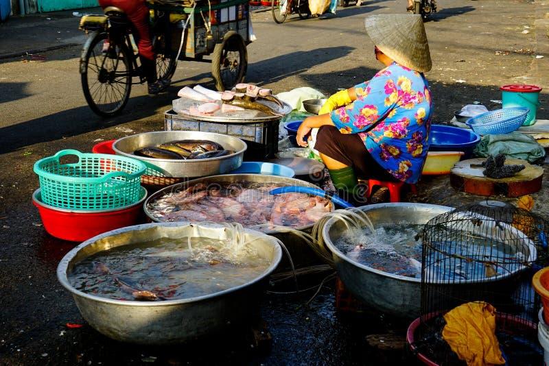 卖在街道上的越南妇女鱼 免版税库存图片