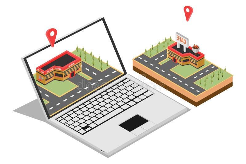 卖家庭网上行销的等量概念网横幅的,隔绝在白色背景中,传染媒介例证 向量例证