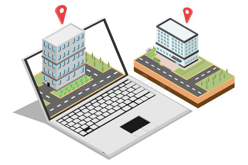 卖家庭网上行销的等量概念网横幅的,隔绝在白色背景中,传染媒介例证 库存例证