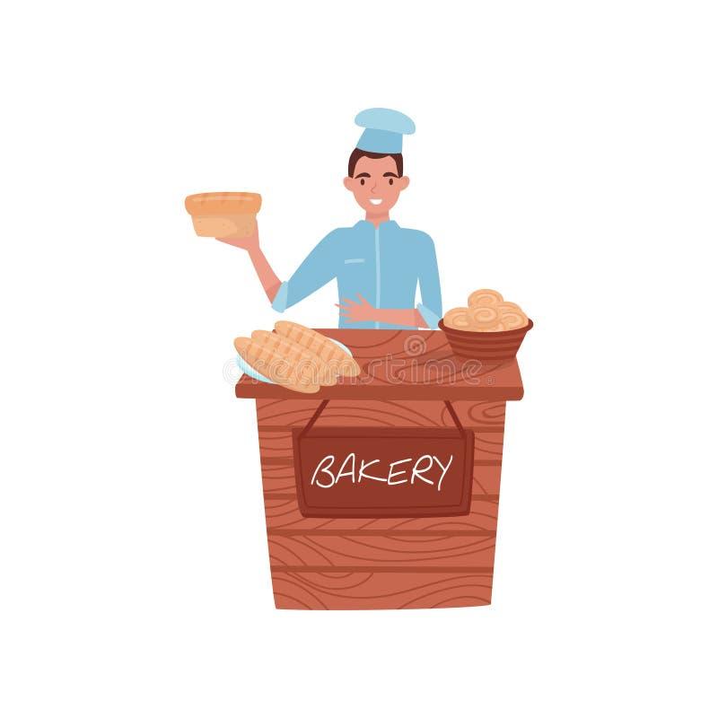 卖新鲜面包的年轻人 与面包店产品的木摊位 制服的贝克 专业工作 平的传染媒介 皇族释放例证