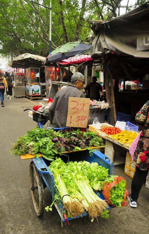 卖菜的中国人 免版税库存图片