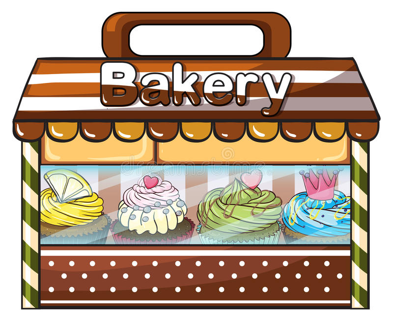 卖被烘烤的好吃的东西和蛋糕的面包店 向量例证
