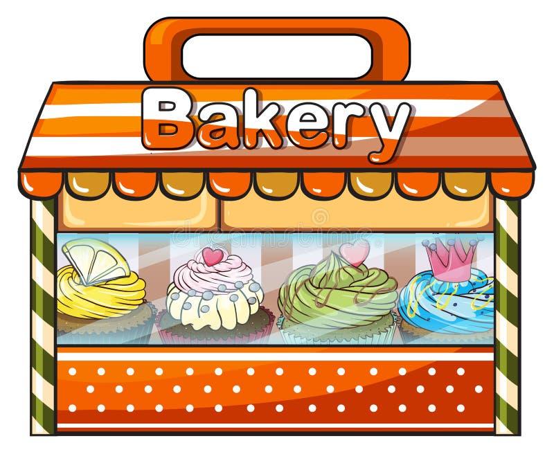 卖被烘烤的物品的面包店 皇族释放例证