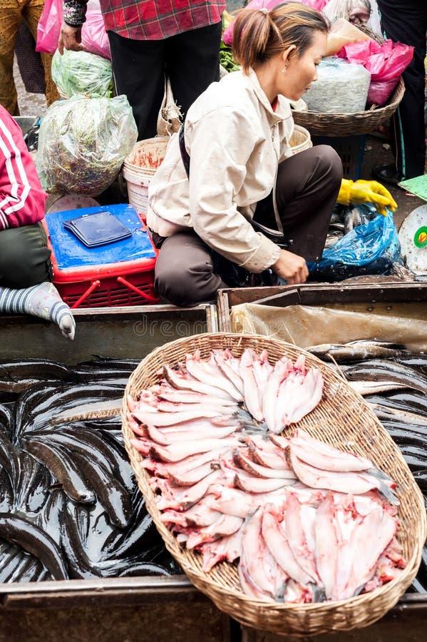 卖鱼市场的高棉妇女 柬埔寨收割siem 免版税库存图片