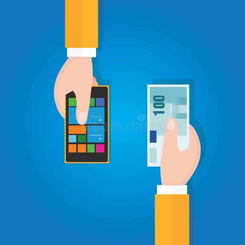 卖购买半新手机聪明的小配件价格用拿着金钱的手 向量例证
