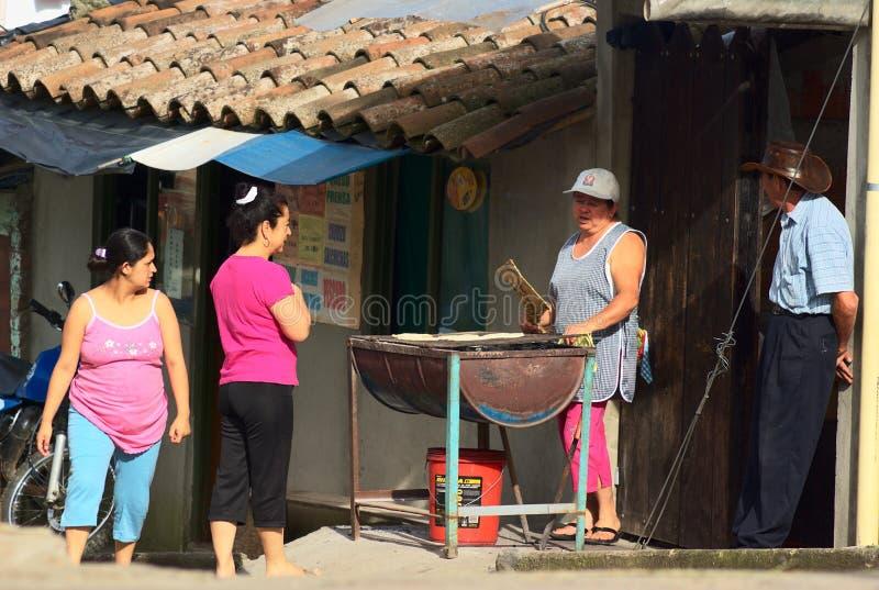 卖Arepa在Salento,哥伦比亚 免版税库存图片