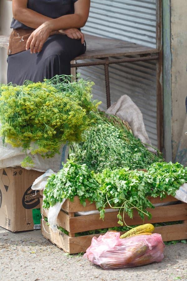 卖parsey和菜街市的村庄妇女 库存照片