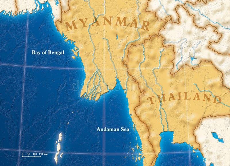 南亚洲东部的映射 免版税库存照片