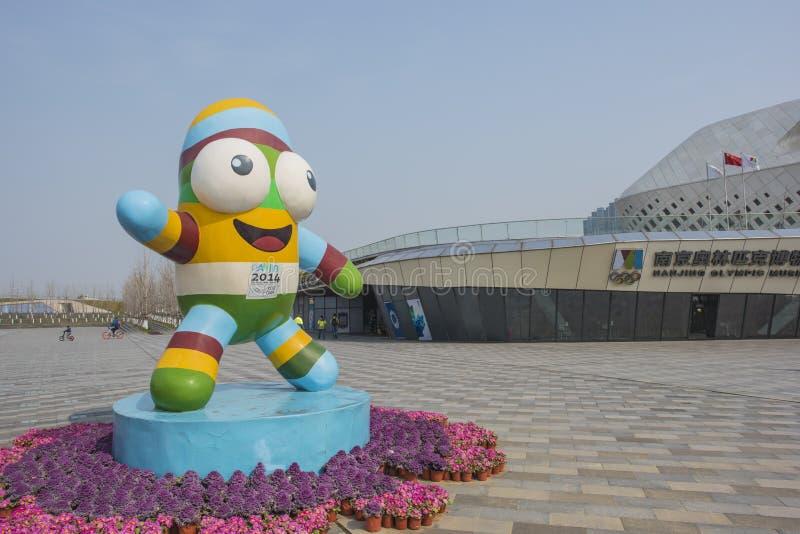南京青年时期奥运会mascots le le 免版税库存图片